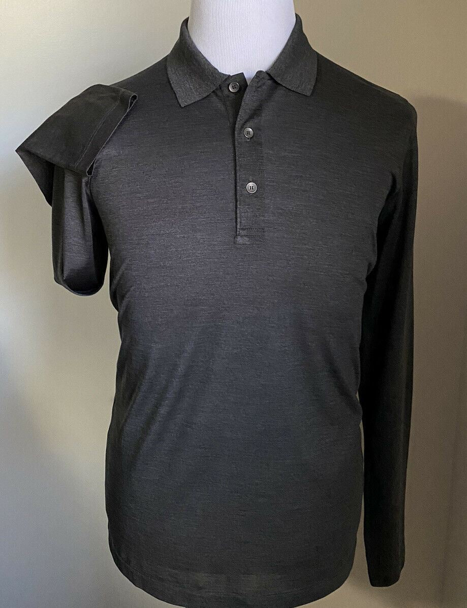 NWT $690 Bottega Veneta Men Long Sleeve Polo Shirt DK Gray S US ( 48 Eu ) Italy