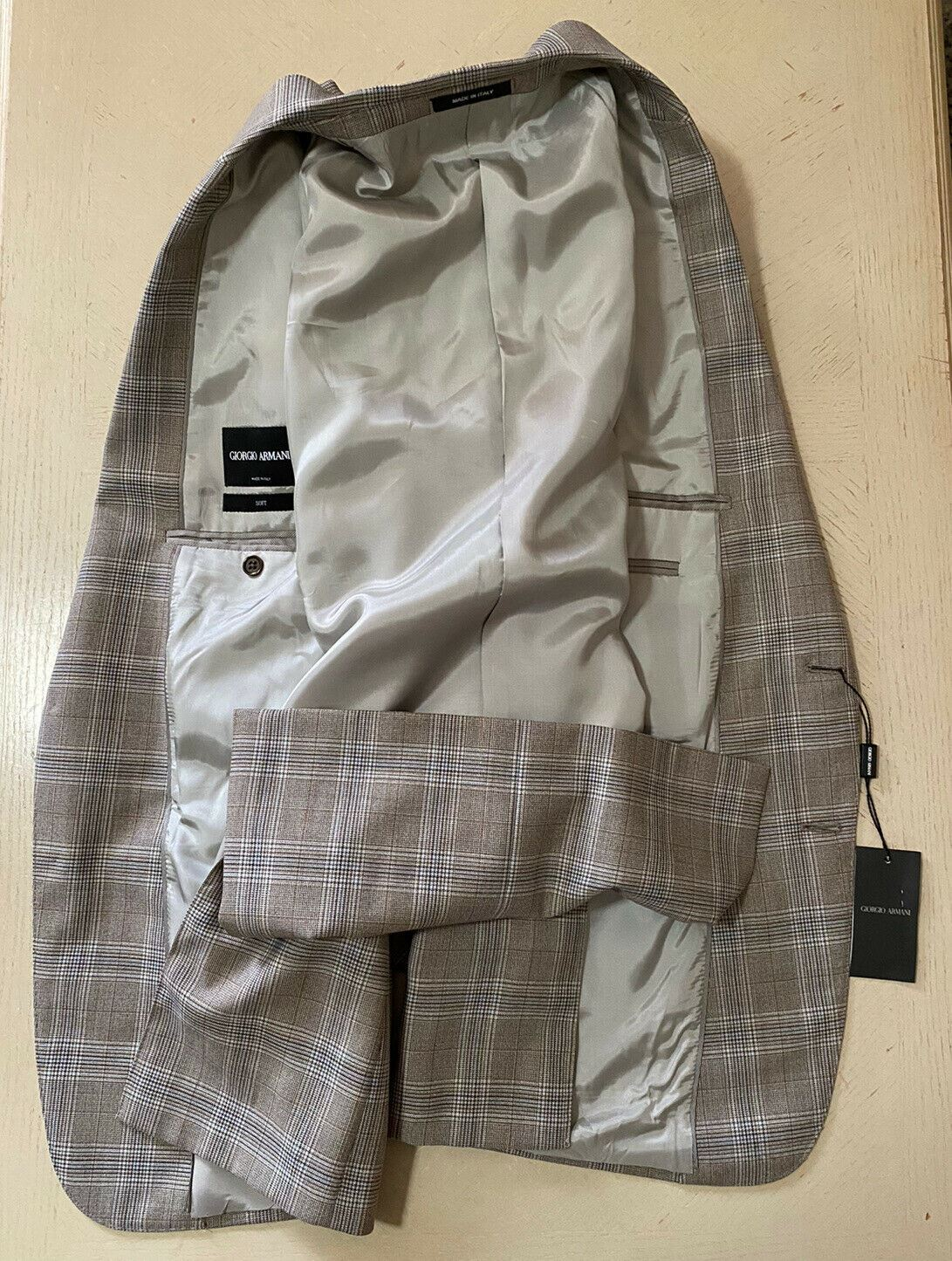 NWT $2395 Giorgio Armani Mens Sport Coat Jacket Blazer LT Brown 42 US/52 Eu Ita