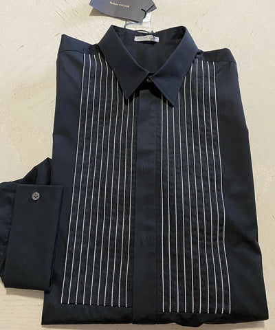 NWT $1300 Bottega Veneta Mens Dress Shirt Blak 44/17.5 Italy
