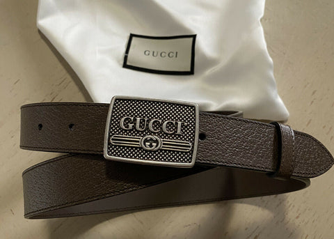 New $780 Gucci Mens Genuine Leather Belt DK Brown 40/100 Italy