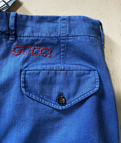 NWT $690 Gucci Mens Light Denim Short Pants Blue Size 36 US ( 52 Eu ) Italy