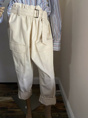 New $1525 Brunello Cucinelli Women Cargo-Style Belted Pants 10 US/46 It Italy