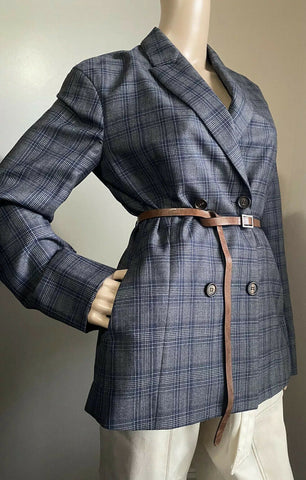 New $4750 Brunello Cucinelli Women Jacket Blazer With Belts Gray 42 It/6 US Ita