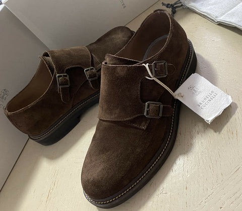$875 Brunello Cucinelli Men Suede Double Monk Shoes Dark Brown 10 US ( 43 Eu )