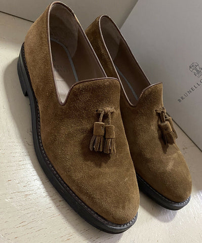 $895 Brunello Cucinelli Men Suede Loafers Shoes Brown 9 US ( 42 Eu ) Italy