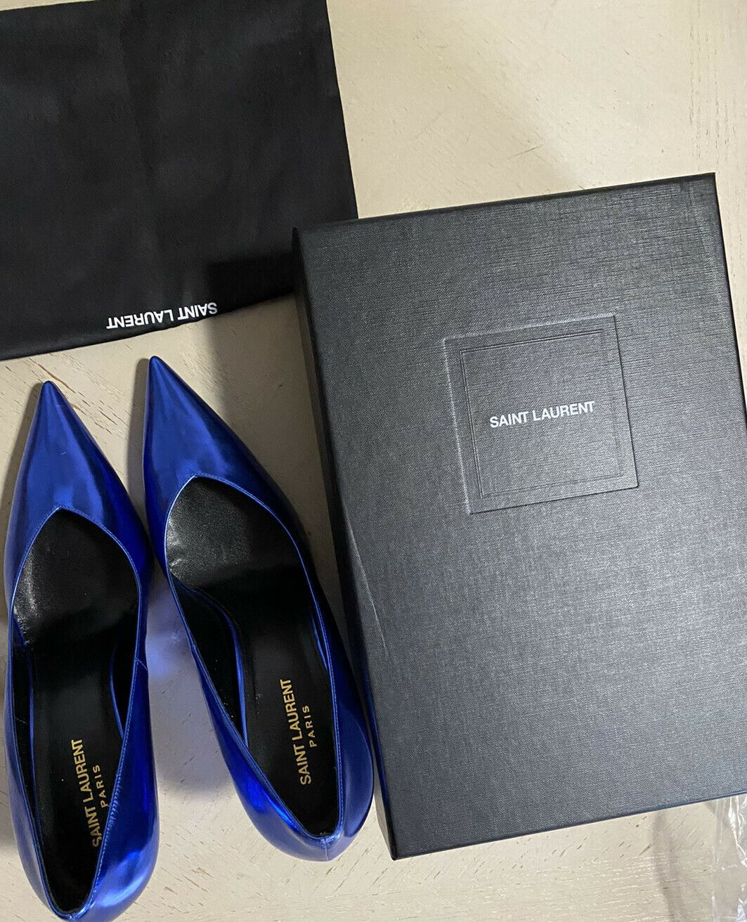NIB $795 Saint Laurent Women  Leather Shoes Blue 12 US/42 Eu Italy