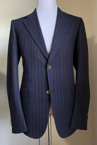 New $3800 Gucci Mens Suit Striped Navy/Blue 38R  US ( 48R Eu ) Italy