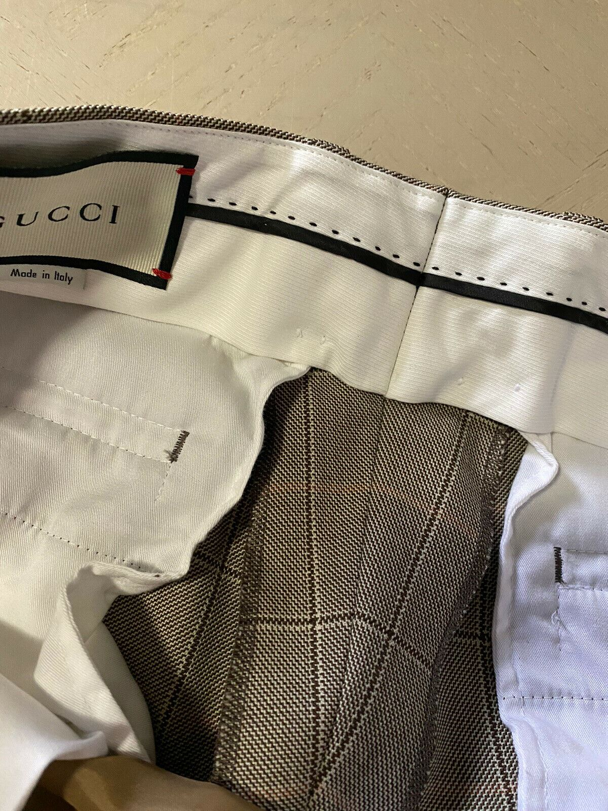 New $1300 Gucci Mens Wool Pants LT Brown/Chocolate 32 US ( 48 Eu ) Made in Italy