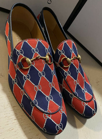NIB $890 Gucci Men GG Monogram Loafers Shoes Red/Blue 8.5 US / 7.5 UK Italy