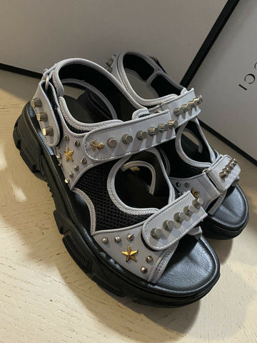 NIB $1150 Gucci Mens Gucci Agura Sandal Shoes Silver/Black 9 US/8 UK Italy