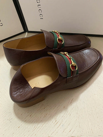 NIB $890 Gucci Mens Leather Loafers Sandal Shoes Brown 10.5 US / 9.5 UK