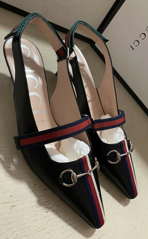NIB $950 Gucci Women's Leather Sandal Shoes Black 8 US ( 38 Eu ) Italy