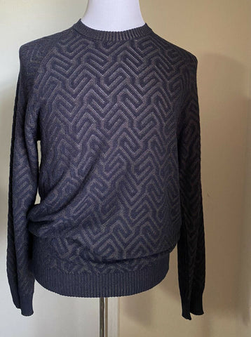 New $1495 Giorgio Armani Men Crewneck Sweater Blue/Brown L US ( 52 Eu ) Italy