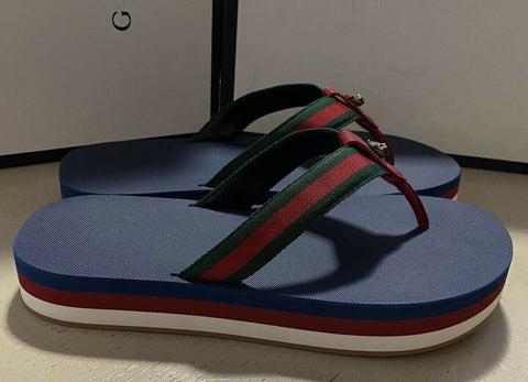 NIB $630 Gucci Mens Leather/Canvas Sandal Shoes Red/Green/Blue 10.5 US/10G UK