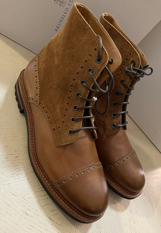 New $995 Brunello Cucinelli Men Leather/Suede Shoes Boots Brown 8 US ( 41 Eu )