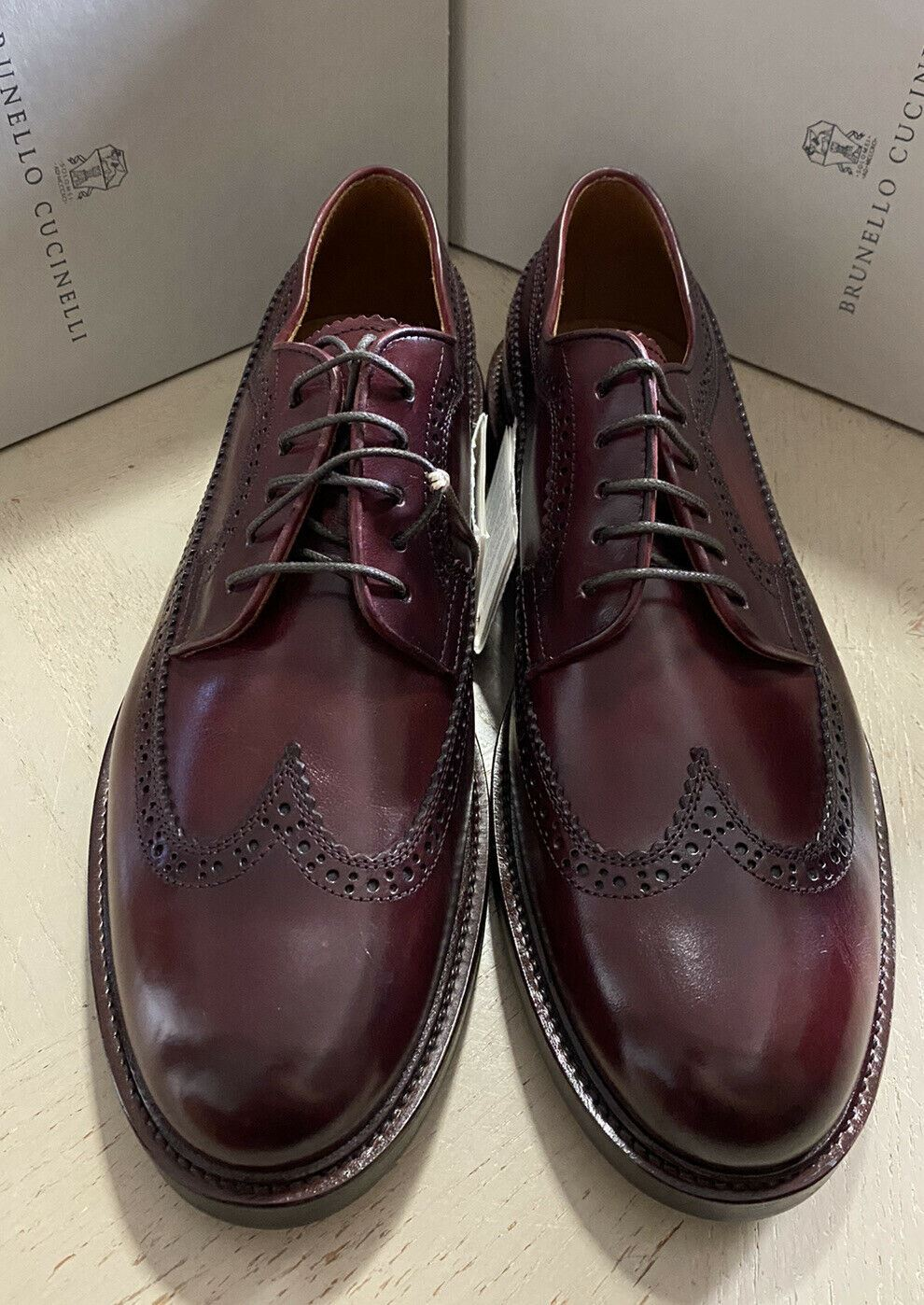 New $995 Brunello Cucinelli Men Leather Shoes Burgundy 12 US ( 45 Eu )