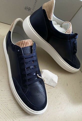 NIB $745 Brunello Cucinelli Mens Leather/Suede Sneakers Shoes Navy 11.5 US/44.5
