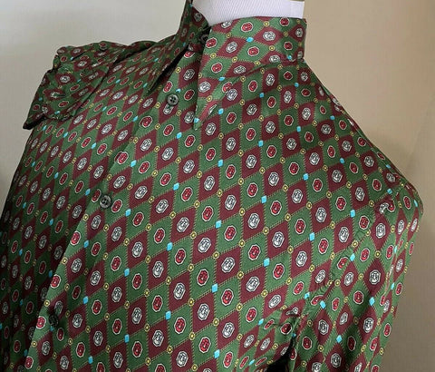 New $1280 Gucci Men's Dress Shirt Green 41/16 Italy