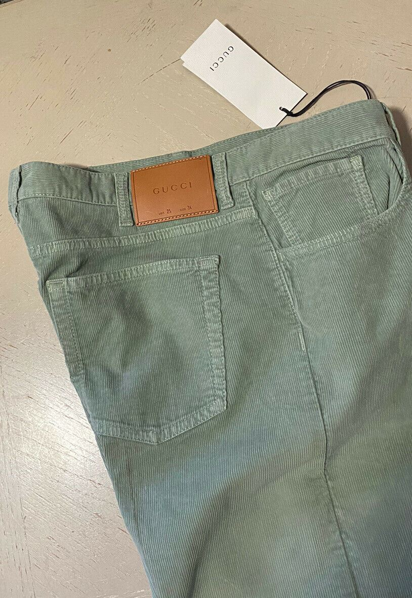 New $980 Gucci Men's Velvet Jeans Pants Green 34 US Made in Italy