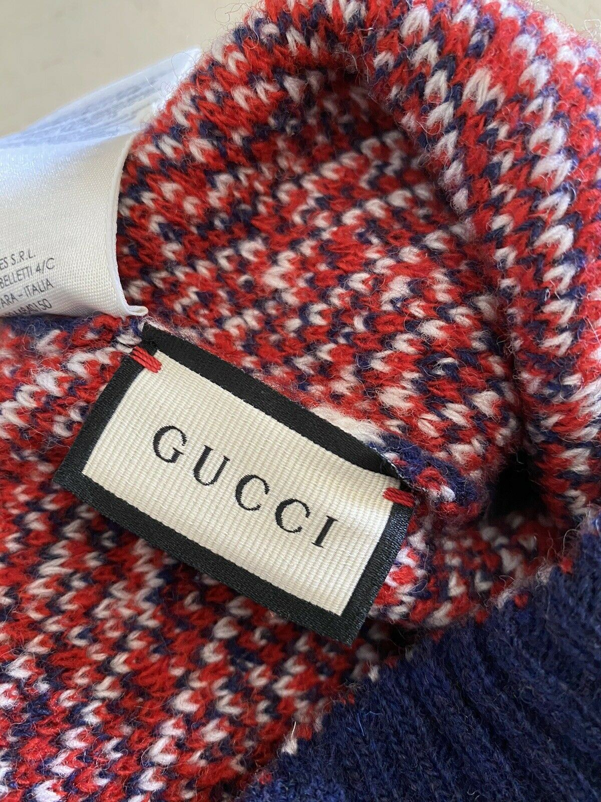 NWT Gucci Mens GG Monogram Wool Beanie Hat Red/Blue Size M Italy