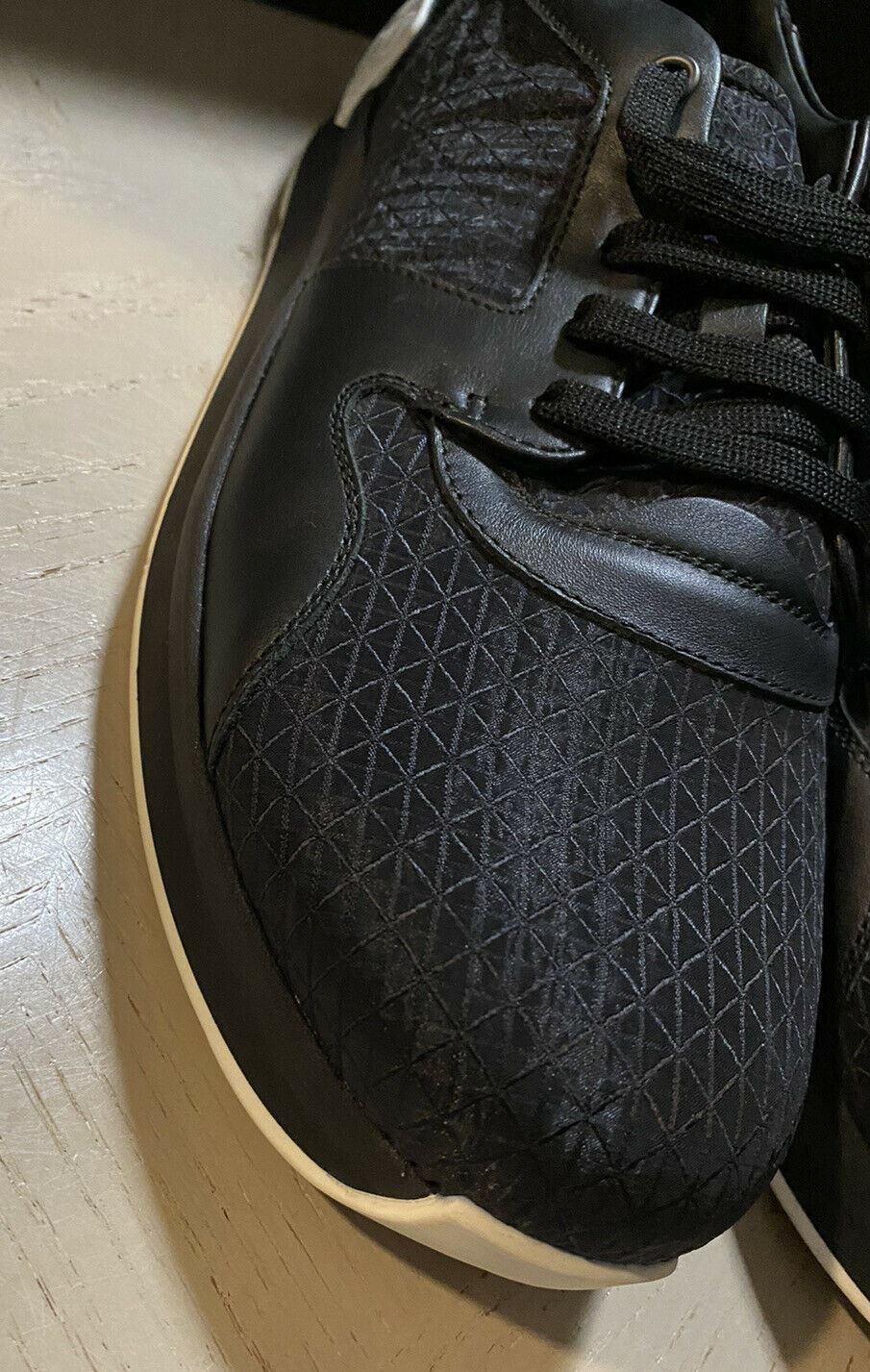 NIB $690 Bottega Veneta Men Textile/Leather Sneakers Shoes Black 8.5 US/41.5 Eu