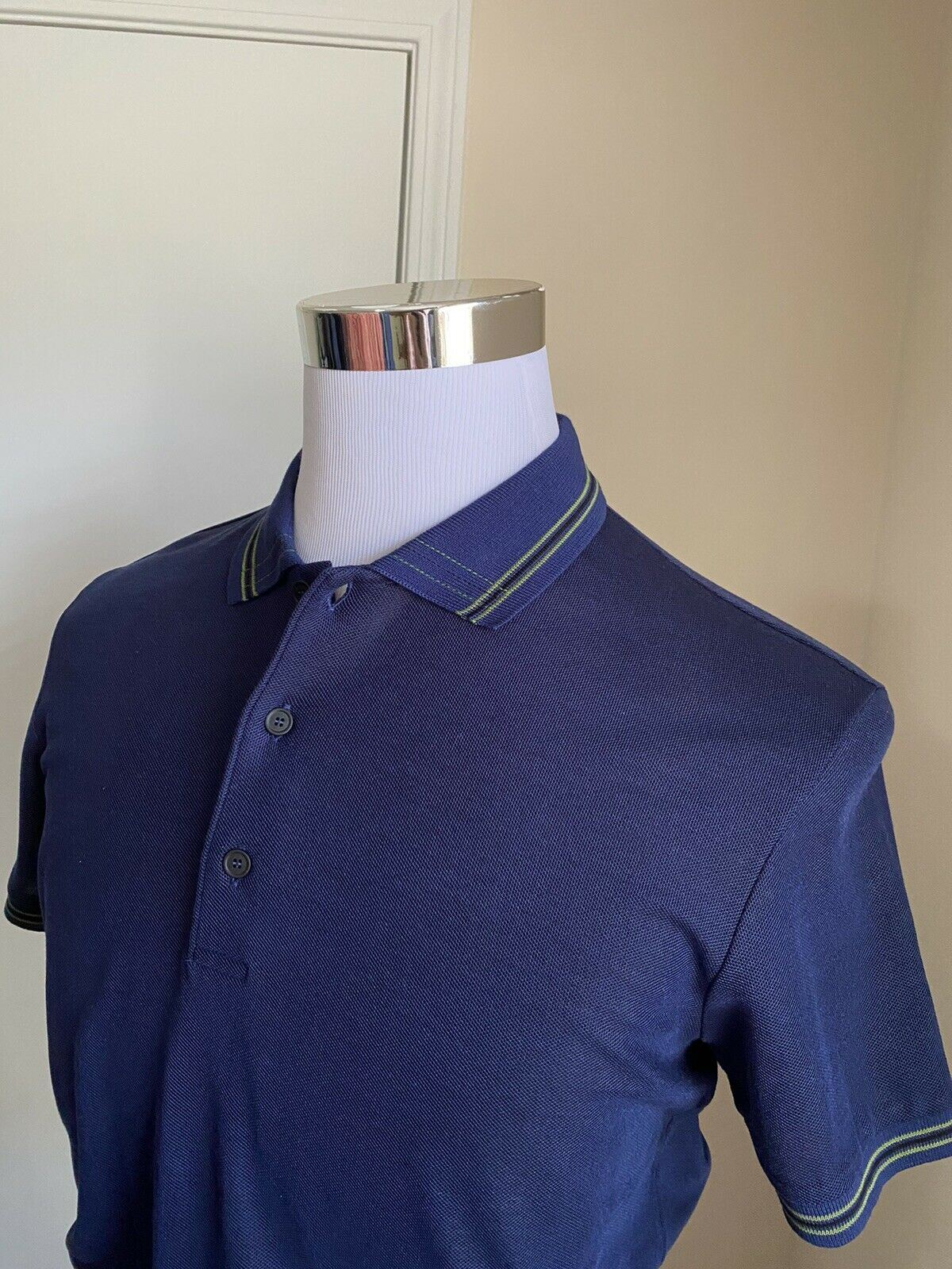 NWT $390 Bottega Veneta Mens Polo Shirt Blue XS US ( 44 Eu ) Italy