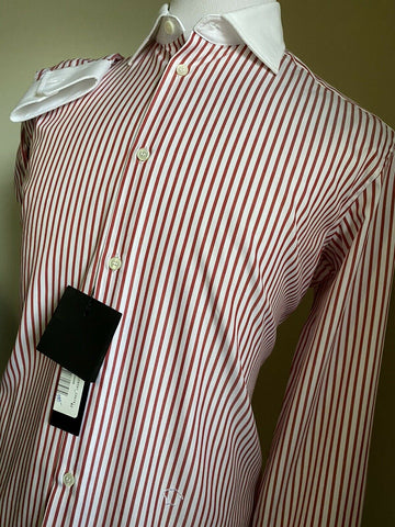 NWT $1390 Versace Mens Dress Shirt Red/White Size 41/16 Italy