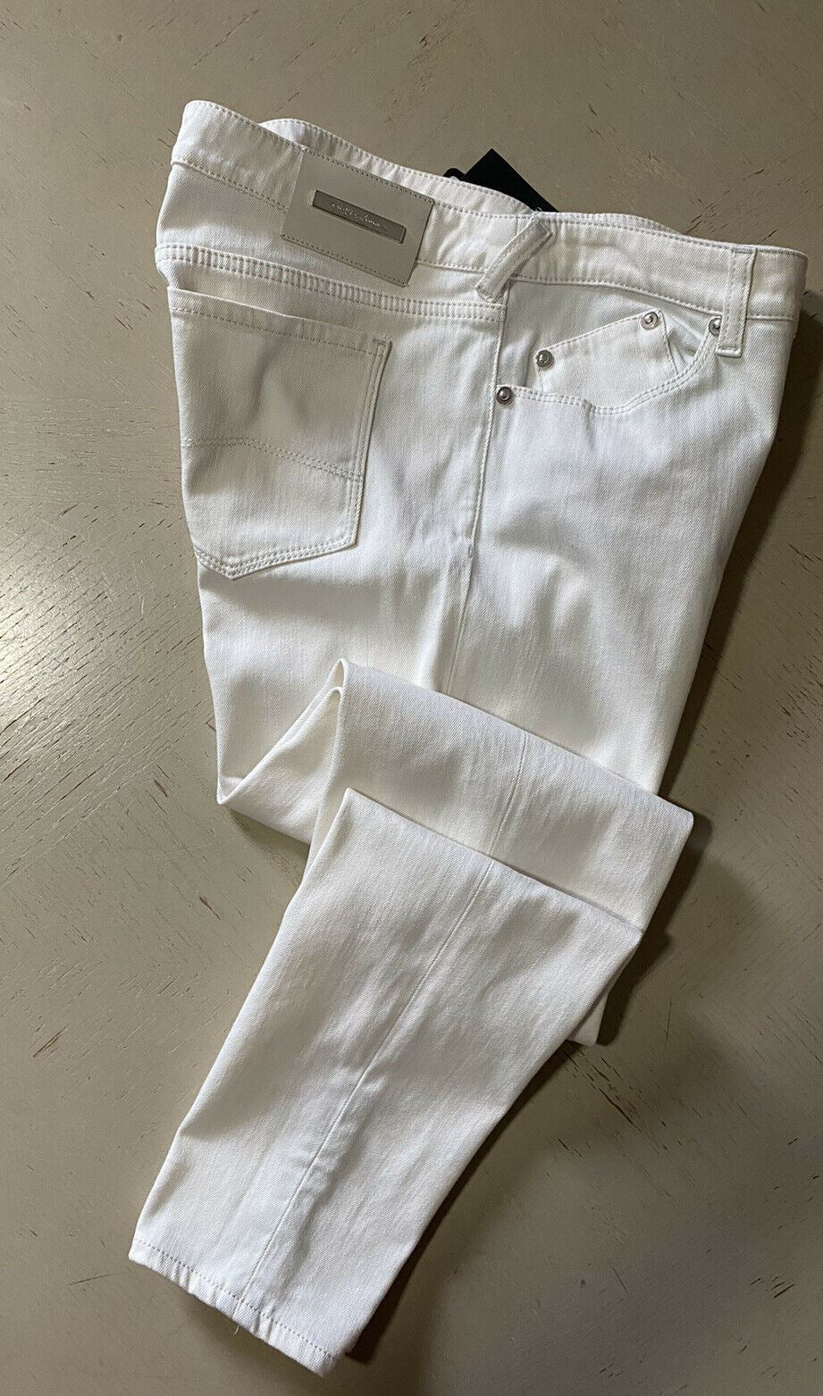 New $1095 Giorgio Armani Women's Pants Jeans White Size 31 Made In Italy