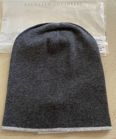 NWT $399 Brunello Cucinelli Mens Cashmere Beanie Hat DK Gray Size M Italy