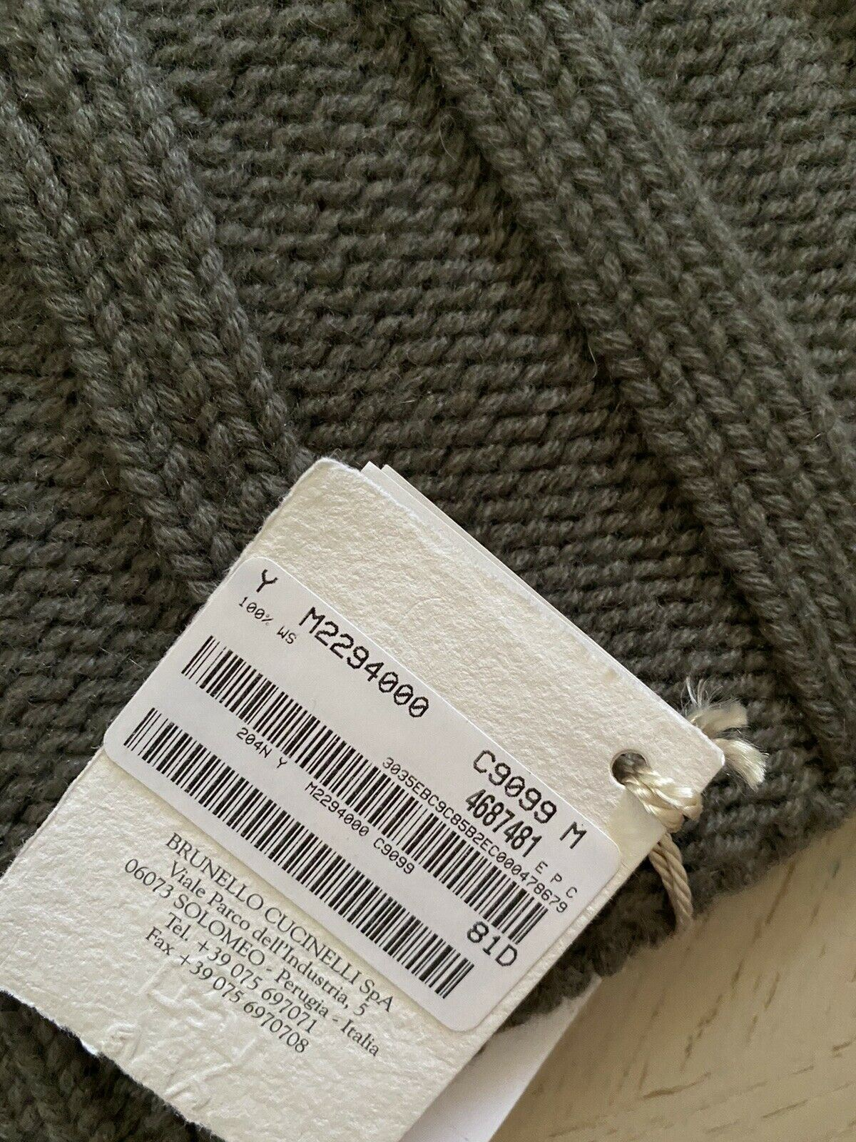 NWT $410 Brunello Cucinelli Men Rib-Knit Cashmere Beanie Hat Military M Italy