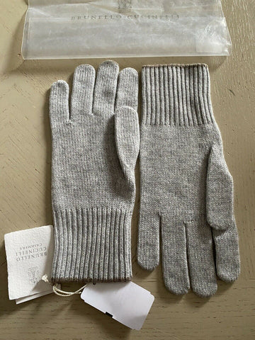 NWT $555 Brunello Cucinelli Women Ribbed Cashmere Gloves Gray Size L Italy