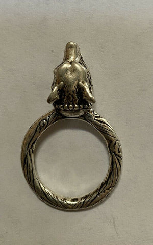 New Authentic GUCCI Anger Forest Wolf Head Silver Ring Size 6.75 US ( 13 ) Italy