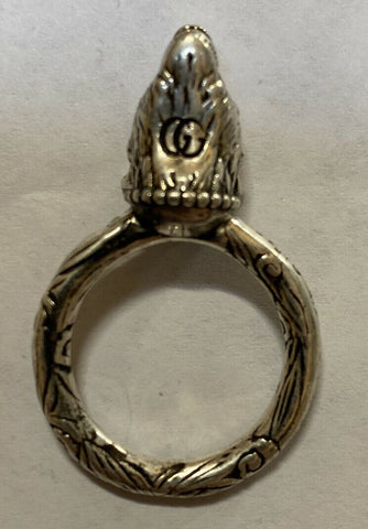 New Authentic GUCCI Anger Forest Wolf Head Silver Ring Size 7 US ( 14 ) Italy