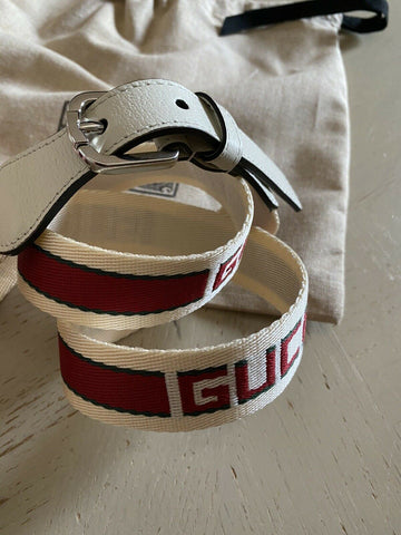 New Gucci Women Gucci Monogram Canvas/Leather Women Belt White/Red 38/95 Italy