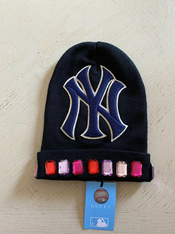 NWT Gucci Mens Wool New York yankees Beanie Hat Black Size M Italy