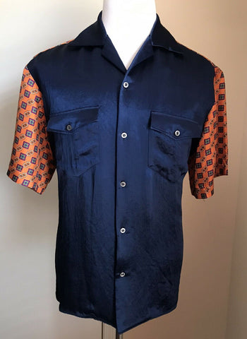 New $940 Gucci Men's Short Sleeve Shirt Blue/Orange Size L ( 50 Eu ) Italy
