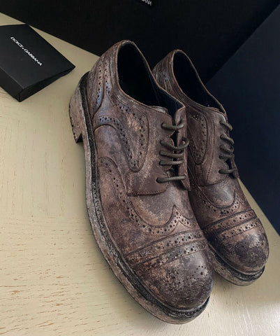 New $1145 Men Dolce&Gabbana Men Distressed Leather Shoes Brown 12 US ( 45 Eu )