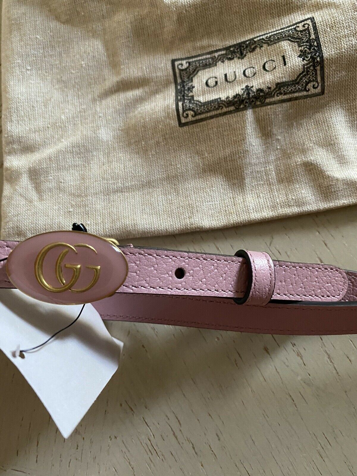 New Gucci Women's GG Enamel Bucle Leather Belt Pink 100/40 Italy