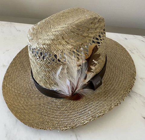 NWT $895 Saint Laurent Kate Panama Toguilla Palm Straw Hat Sand/DK Brown S Ita