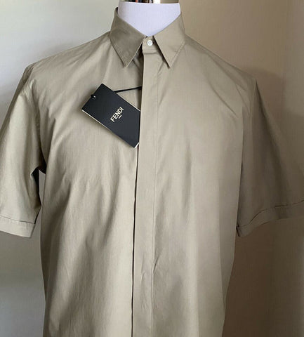 New $550 Fendi Men Solid Hidden-Button Point Collar Shirt Beige L ( 41 Eu )Italy