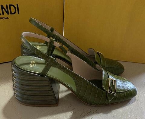 NIB $895 Fendi Women Croc-Embossed Leather Block-Heel Sandal Green 9 US/39 Eu