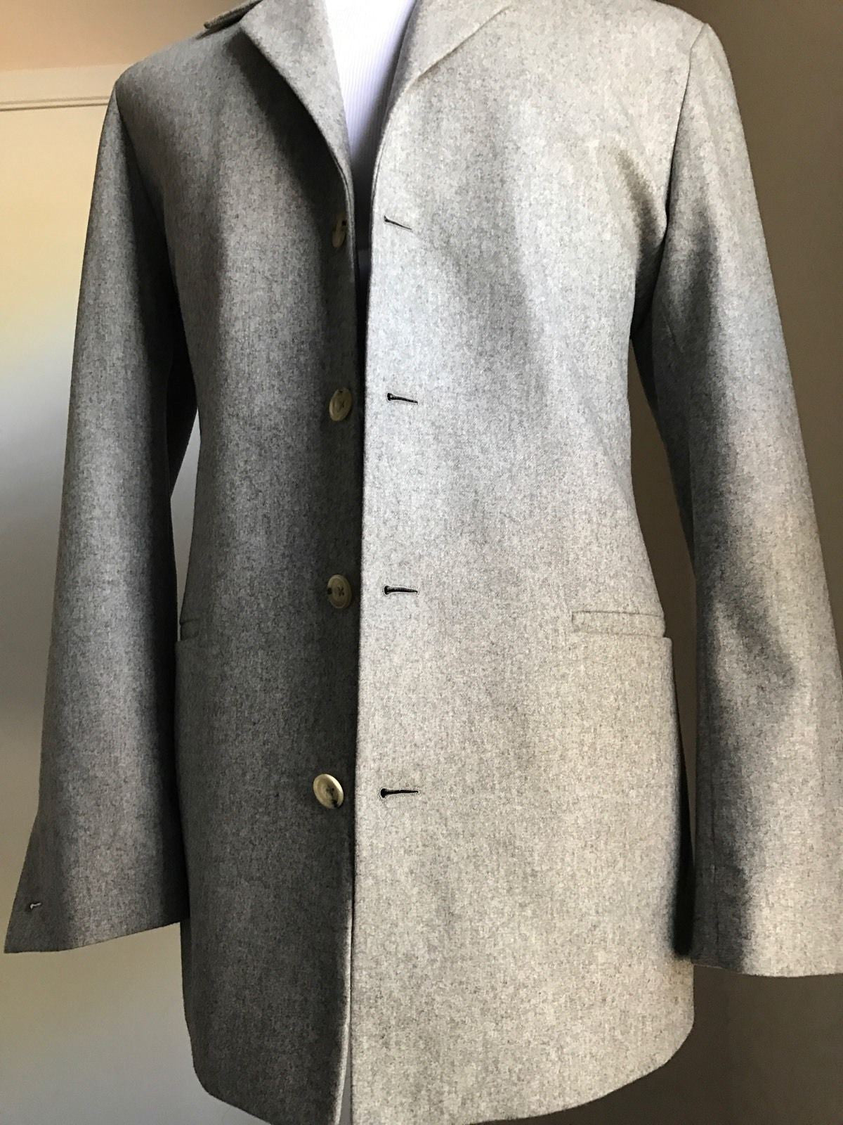 New Napoli Hand Made Men's Sport Coat Jacket, Blazer Gray 38 US ( 48 Eur ) - BAYSUPERSTORE