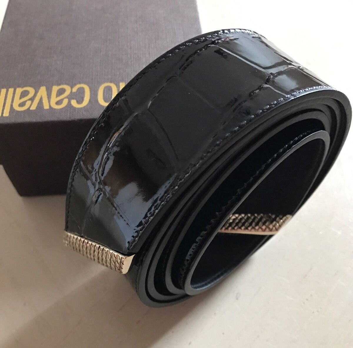 New $590 Roberto Cavalli Leather Women's Belt Size 42/75 Black Italy - BAYSUPERSTORE