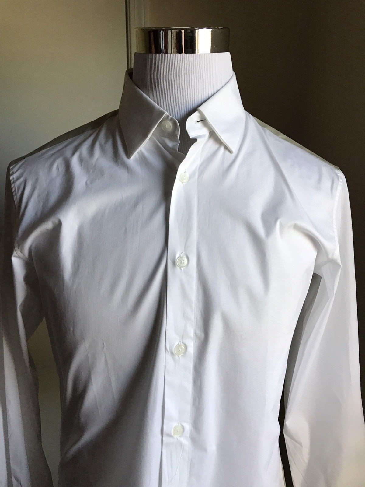 New $275 Z Zegna Dress Shirt White/Green Size 41/16 - BAYSUPERSTORE