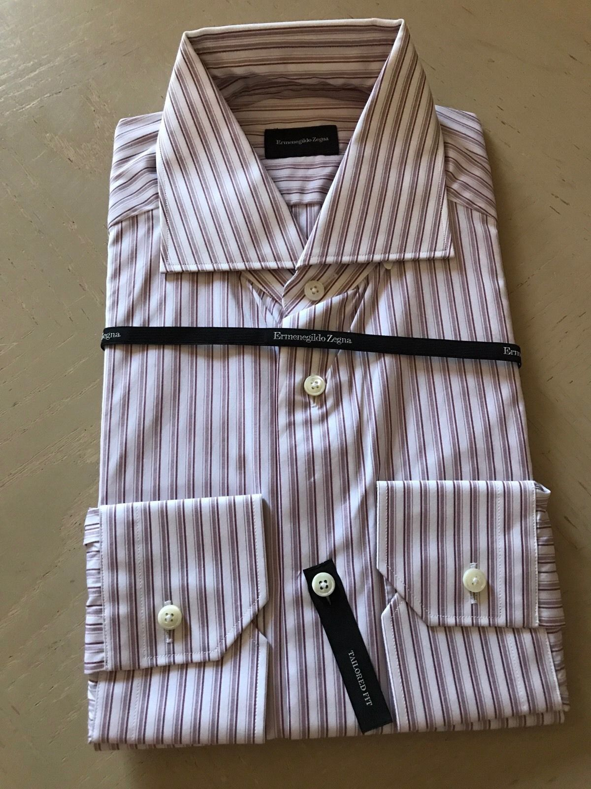 New $375 Ermenegildo Zegna Dress Shirt Red Striped Size 38/15 - BAYSUPERSTORE