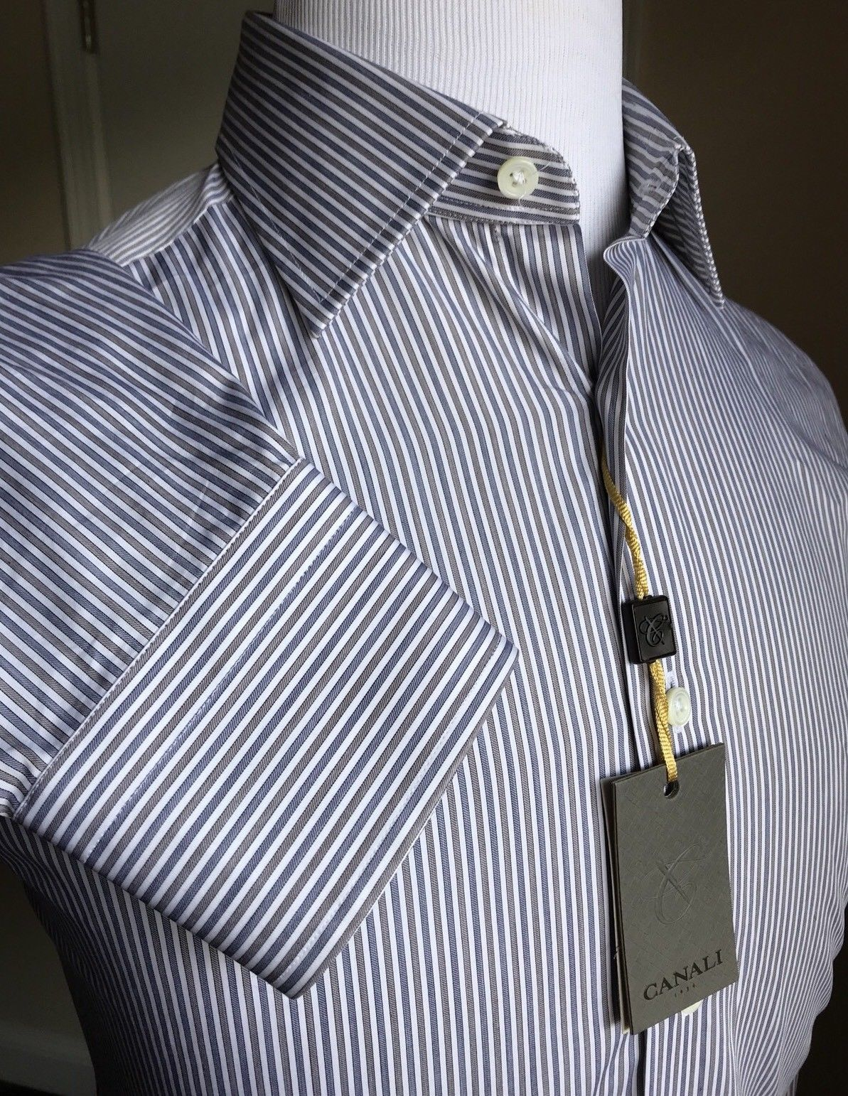 cd928e5c0d New  280 Canali Dress Shirt Blue Striped Size 39 15.5 Italy ...