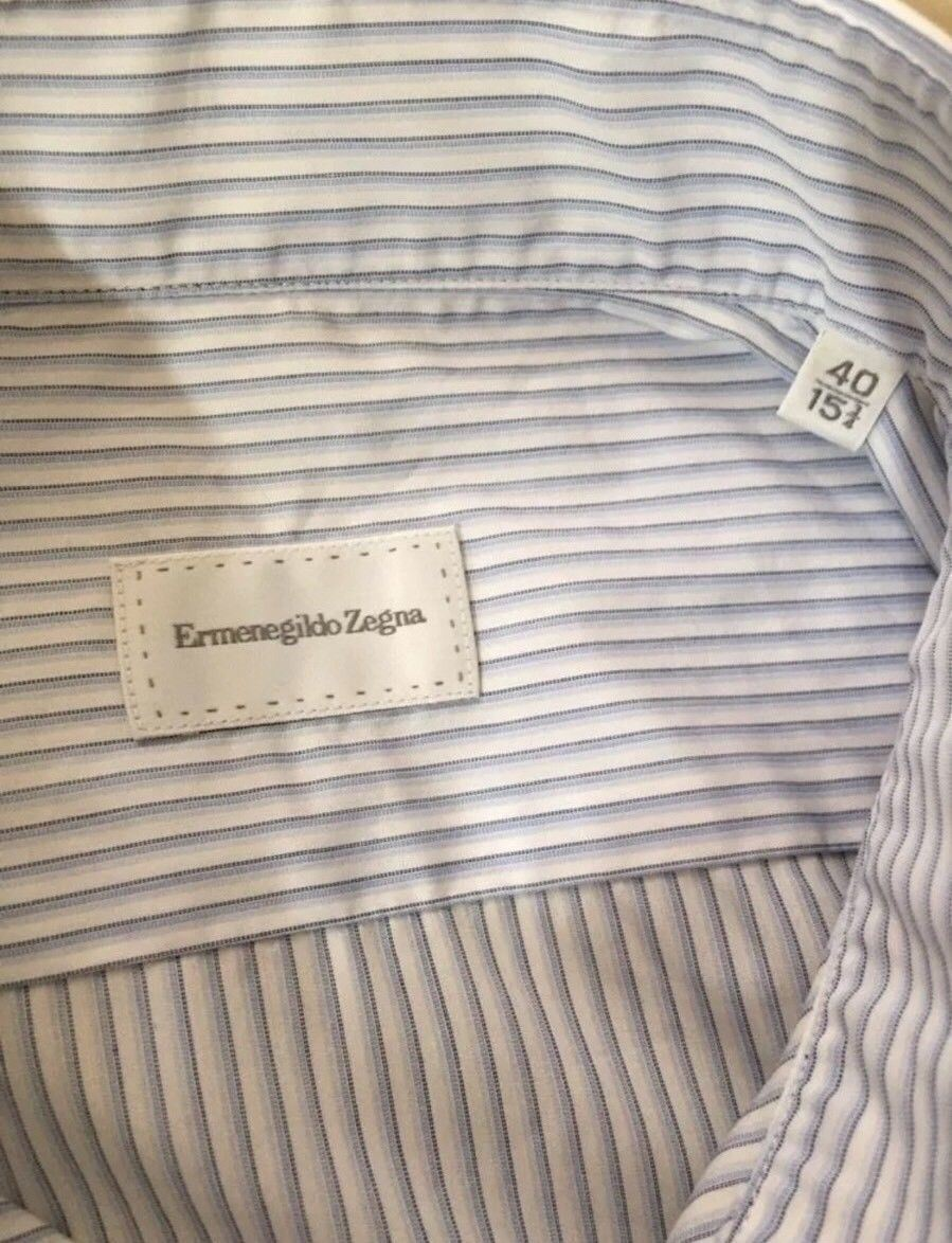 New $355 Ermenegildo Zegna Dress Shirt Blue Striped Size 40/15 3/4 - BAYSUPERSTORE