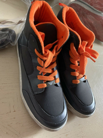 New Armani Junior Boys Leather/Nylon Sneakers Shoes Gray 4 US ( 36 Eur )