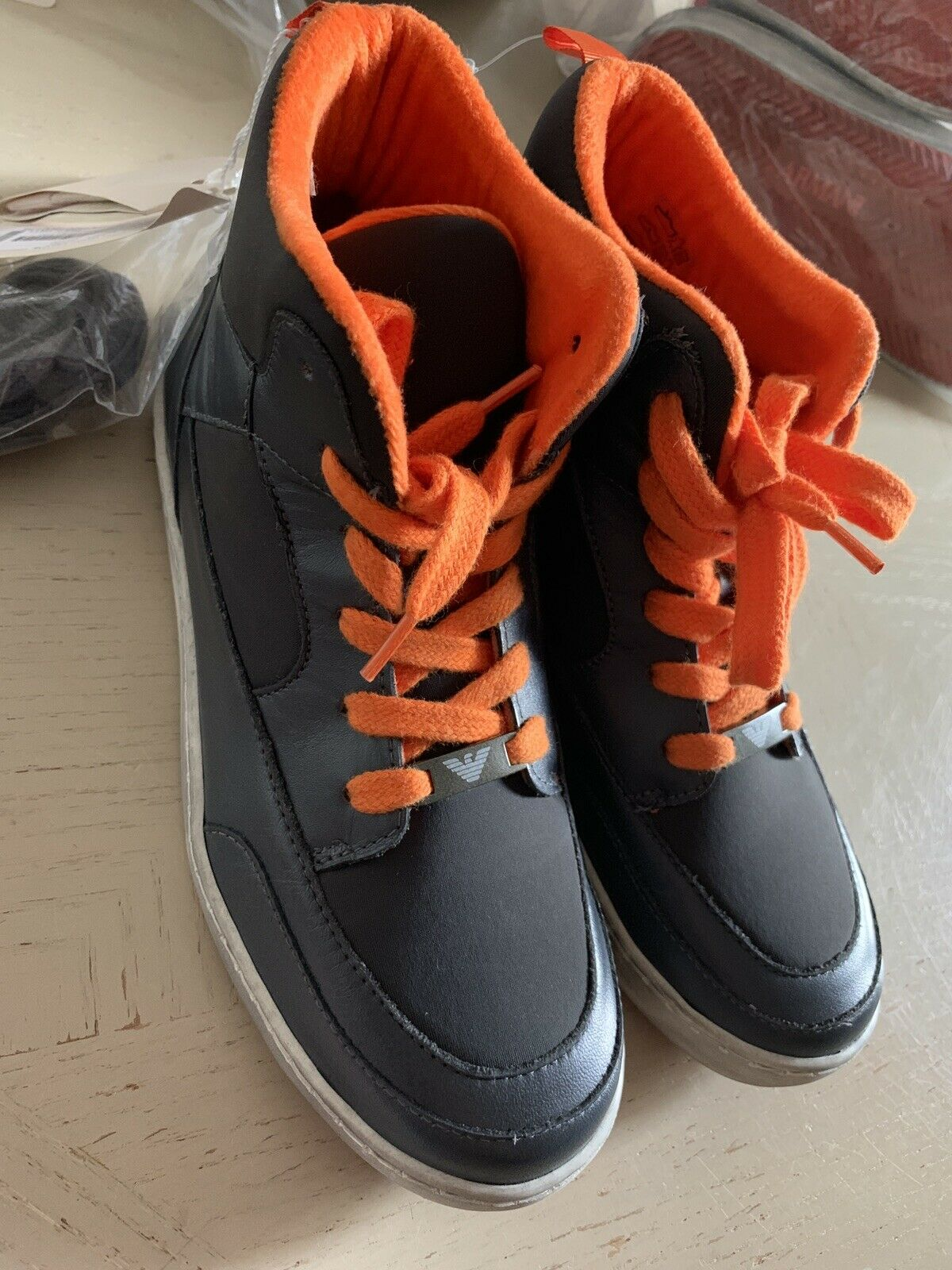New Armani Junior Boys Leather/Nylon Sneakers Shoes Gray 5.5 US ( 38 Eur )