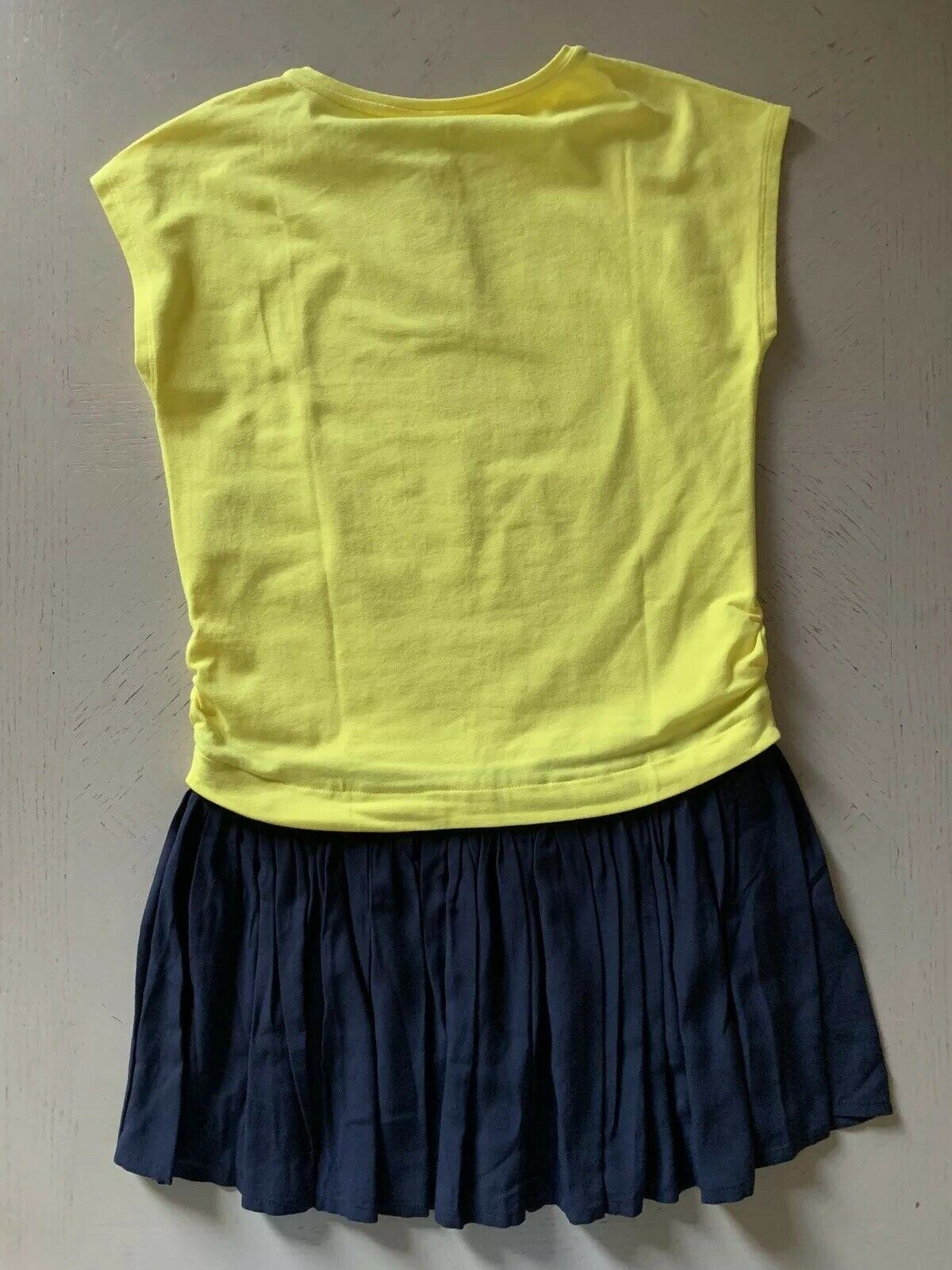 NWT $270 Armani Junior Girls Sleeveless Dress Yellow/Blue Size 12